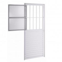 Porta De Aluminio Nat 2 Vidros 0,80x210 C/ Grade